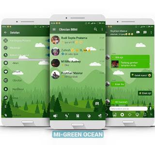 Download BBM MOD MI-Green Ocean Versi 3.2.5.12 Apk (BBM Mod Tanpa Iklan 2017)