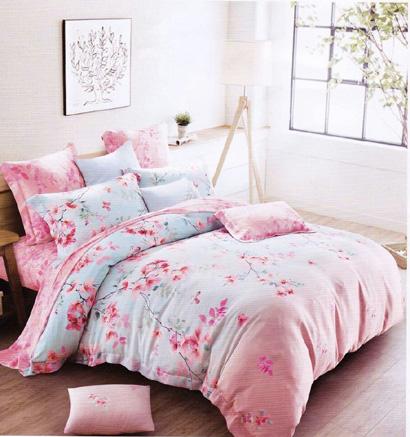 Sprei Tencel Motif Bunga Pink Cantik
