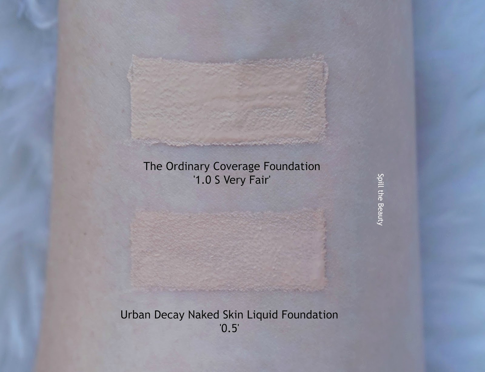 deciem the ordinary deciem high coverage foundation 1.0 s very fair review swatches comparison urban decay