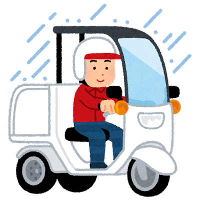 屋根付き三輪バイクに乗る人のイラスト(雨)