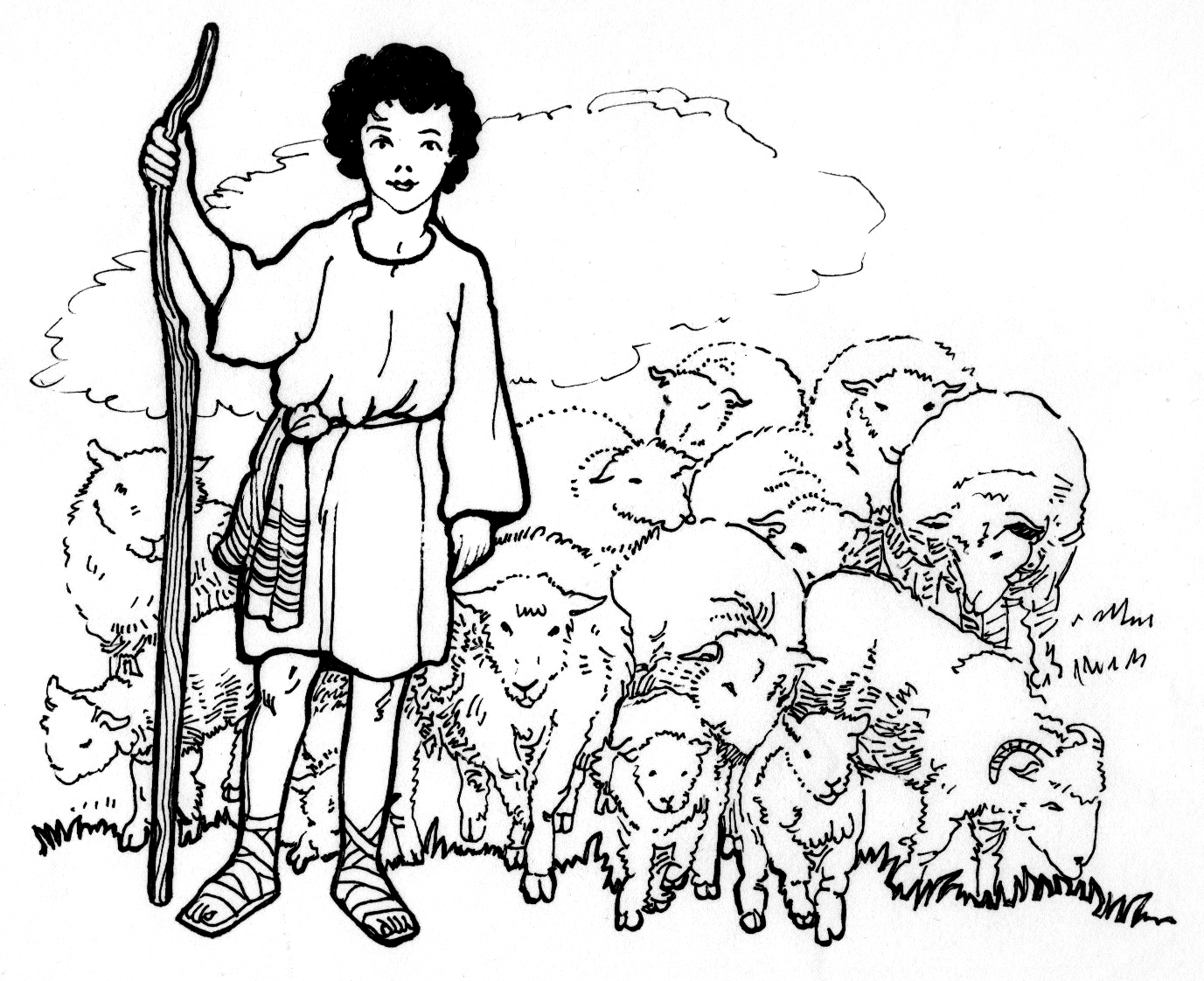 It is an image of Remarkable David The Shepherd Coloring Page