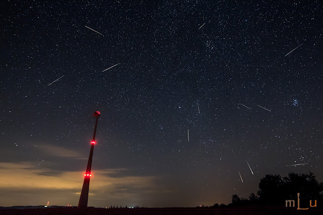 Composite Image of the Perseids Meteor Shower 2013- Germany – © mLu.fotos