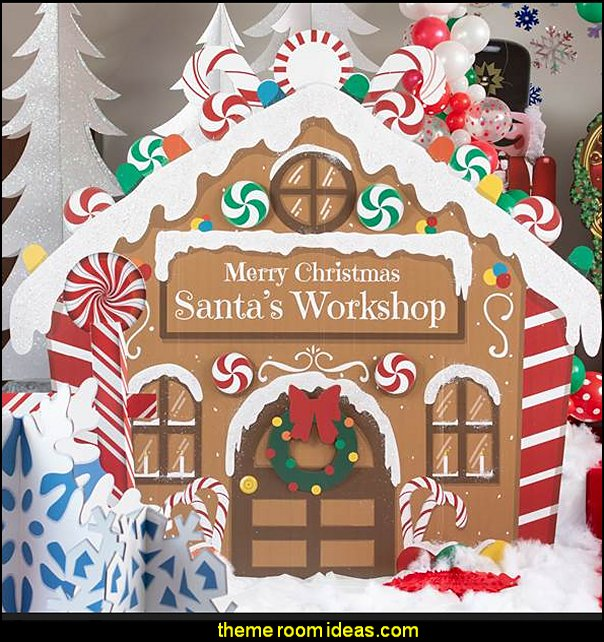 Santa's Workshop Standee  candy Christmas theme decorating - candy themed christmas decorations - christmas candyland decorations -  candy ornaments -  candy shaped holiday ornaments - candy themed Christmas decor -