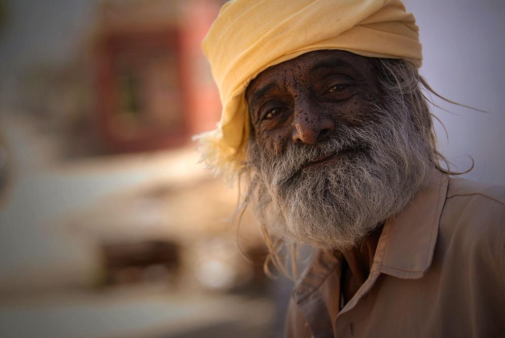 A photo of an Indian man in Pushkar, India is in the series of photographs that are mostly from Rajasthan in India.