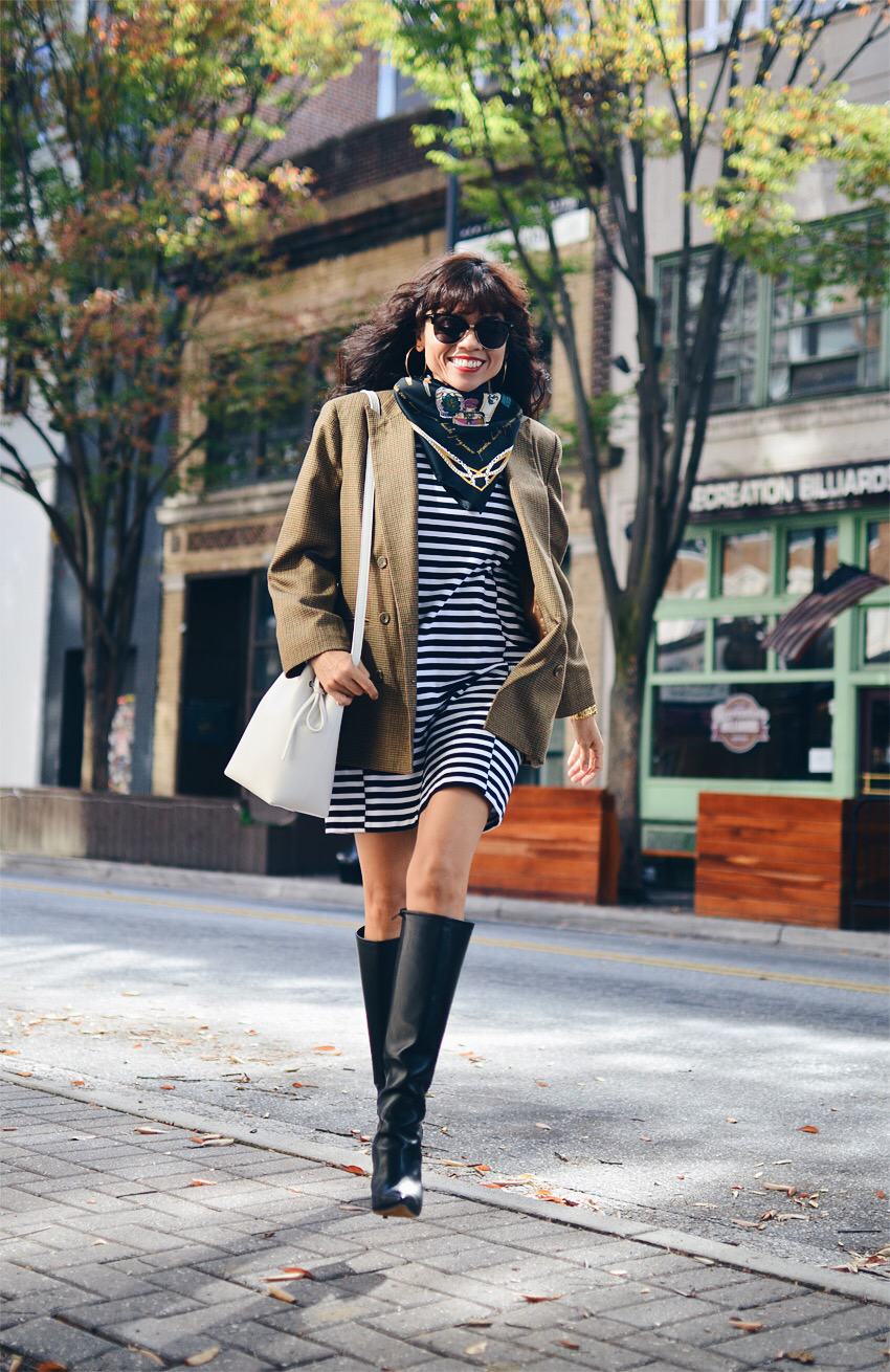 Striped dress street style