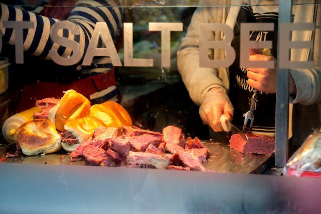 Salt Beef at the Bagel Shop being sliced
