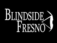 A black back ground with  the side view of an eye to the right of the image, in white letters are the words, 'Blindside Fresno'.