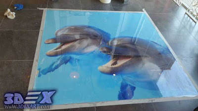 3d dolphin flooring, how to install 3d epoxy floor with photo printing