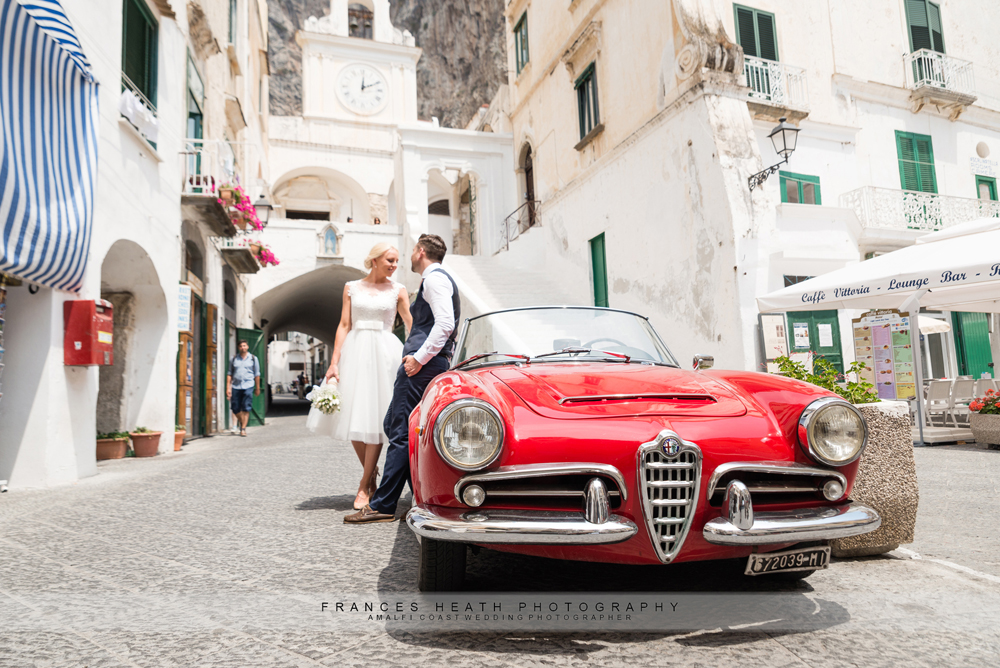 Vintage car on the Amalfi coast