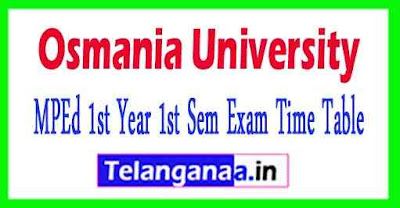 OU MPEd 1st Year 1st Sem Exam Time Table