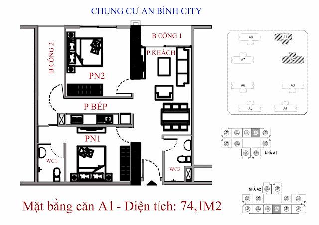 mặt bằng căn hộ A1 - Diện tích 74,1m2