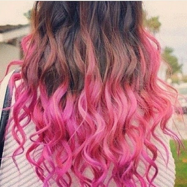 Ombre Hair pink & brown wavy would look better pink and BLACK}
