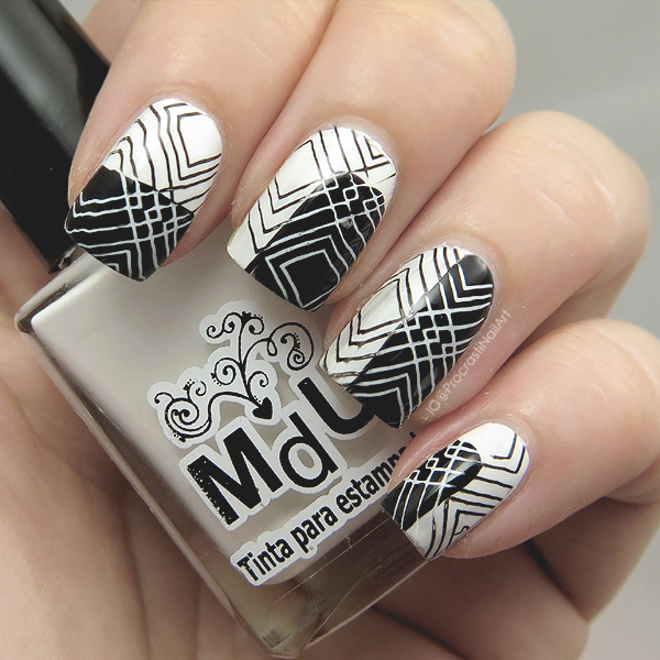 Nail Art Black White For 31dc2016 Contrast Stamping With