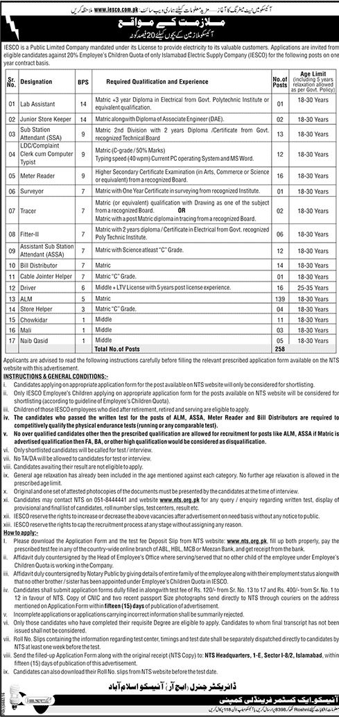 Junior Engineers (Electrical), AM (Telecom), AM (CS), AM (HR & Admin), AM (Account/Finance), AM (Co) / PSA, AM (Store), SSO-I, Audit Assistant, Commercial Assistant, Technician (Telecom), Lab Assistant, Junior Store Keeper, Store System Supervisor, Sub Station Attendant (SSA), LDC, Meter Reader, Surveyor, Tracer, Fitter-II, Assistant Sub Station Attendant (ASSA), Bill Distributor, Cable Jointer Helper, Driver, Security Guard, ALM, Tubewell Operator, Store Helper, Chowkidar, Mali, Naib Qasid