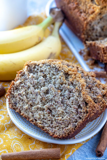 The perfect slice of Cinnamon Banana Bread recipe from Served Up With Love