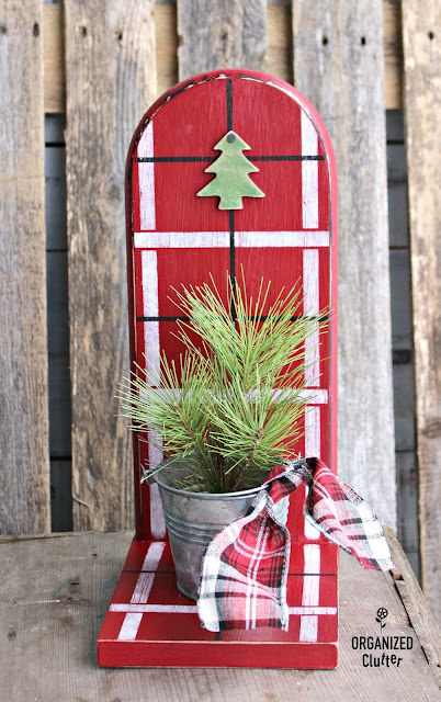 Thrift Shop Paper Towel Holder to Christmas Shelf Decor #Christmasjunkfavs #stencils #oldsignstencils #plaidshirt #repurpose #repurposed #rusticChristmas
