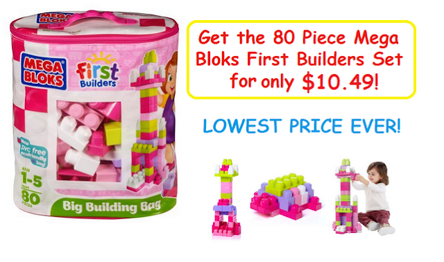 Amazon Deal: Get the 80 Piece Set of Mega Bloks Big Building Bag for only $10.49
