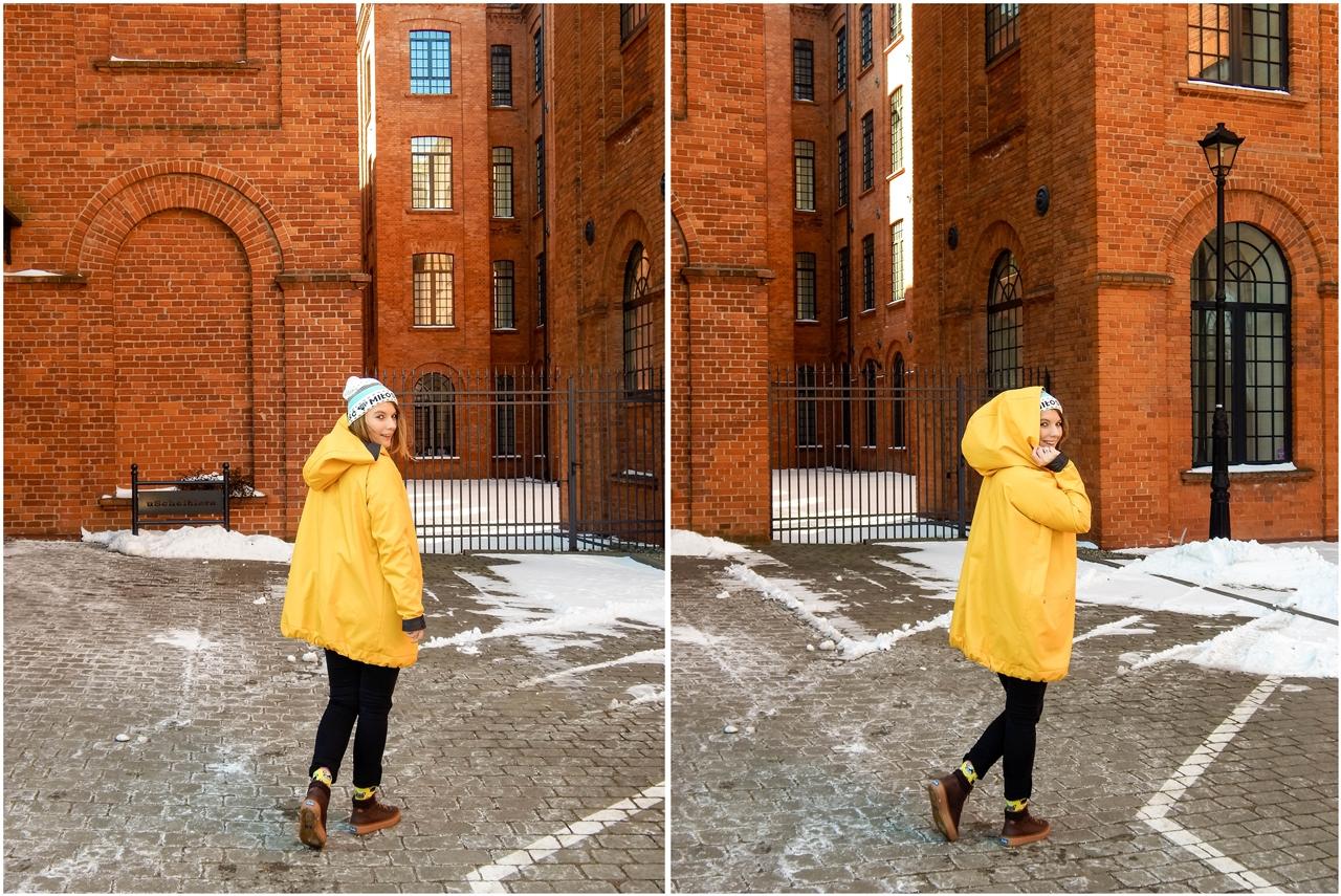 2 agagu clothing casualowy swobodny krój żółty płaszcz sztormiak kurtka na wiosnę streetstyle polski łódź moda polskie marki modowe outfit wiosna spring oversize płaszcz kurtka żółty musztardowy