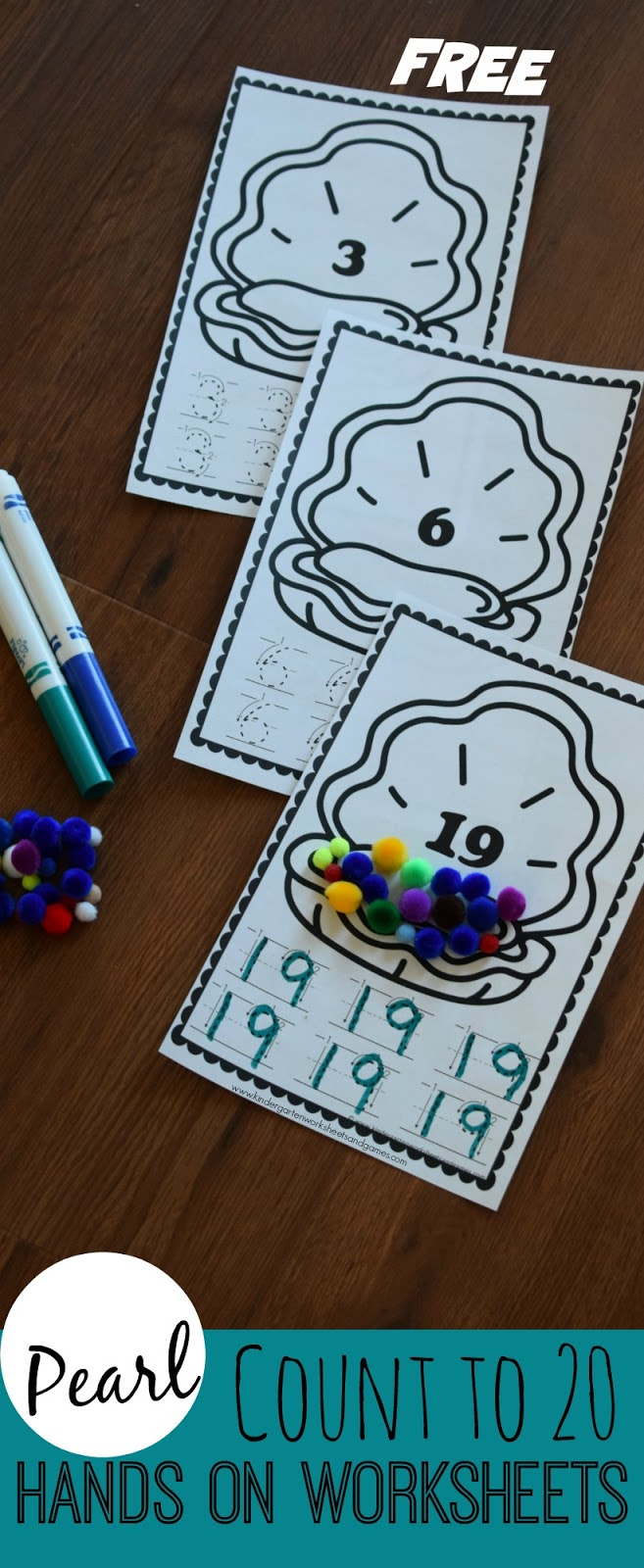 Kindergarten Worksheets and Games  FREE Pearl Count to 20 Hands on     FREE Pearl Count to 20 Hands on Worksheets   these are such a fun clever