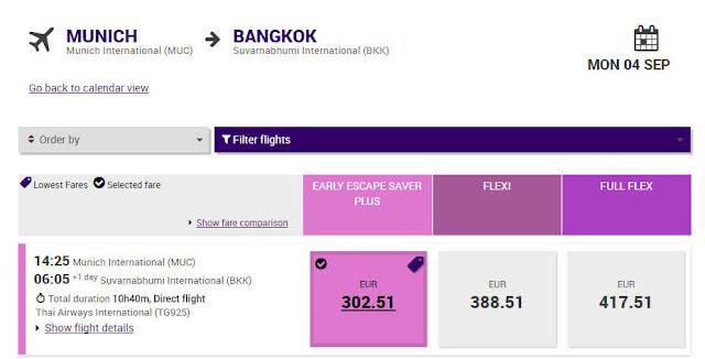 Thai Airways 5 Monate vor Flug München Bangkok