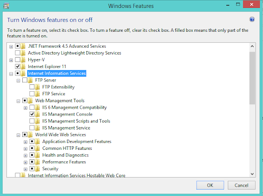 Installing IIS 8 on Windows 8.1