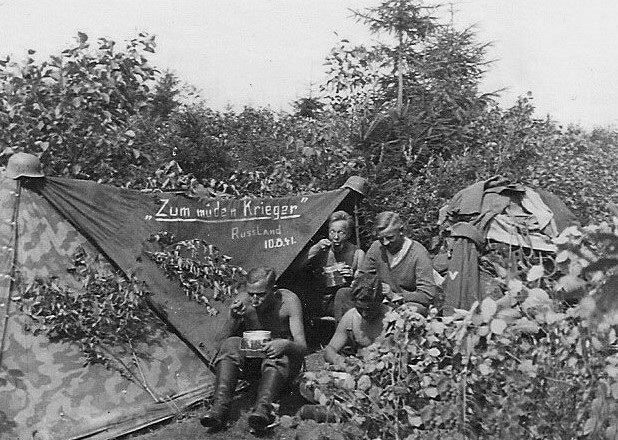German troops and their Zeltbahn tent, 29 August 1941 worldwartwo.filminspector.com