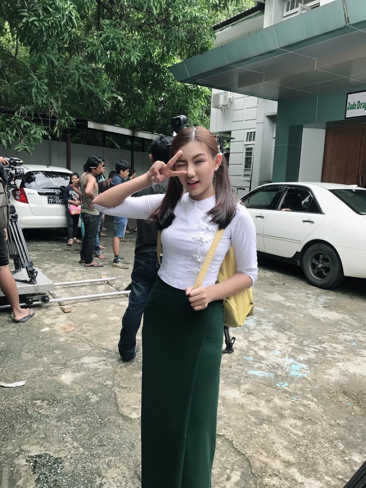 May Myint Mo Cute Style Poses In White and Green School Uniform