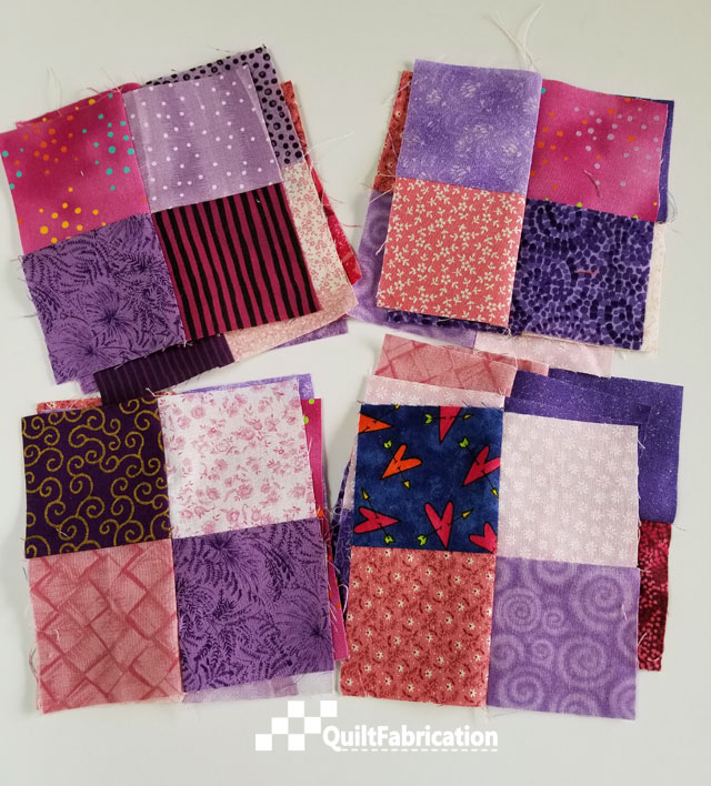 4.5in 4-patch quilt blocks from charm squares