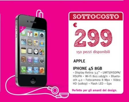 299 euro in sottocosto per iPhone 4S 8GB