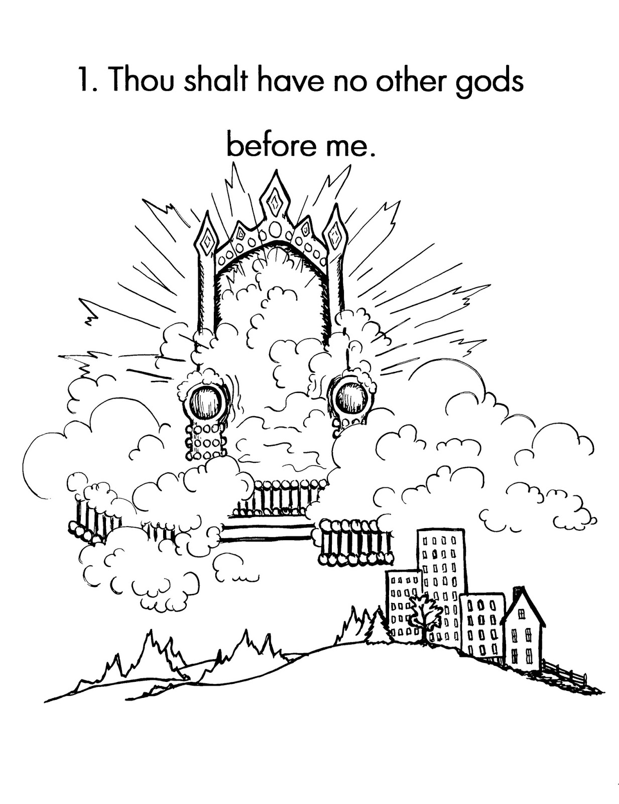 Printable coloring sheets on the first commandment for 1st commandment coloring page