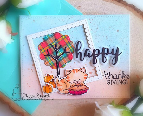 Thanksgiving Card by Maria Russell | Newton's Thanksgiving Stamp Set by Newton's Nook Designs #newtonsnook #handmade