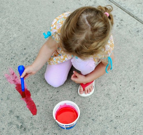 homemade chalk paint for summer theme preschool