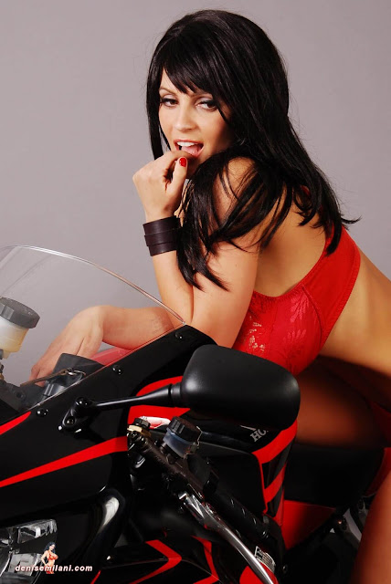 Denise-Milani-Bike-Photoshoot-in-red-hot-bikini-picture-31