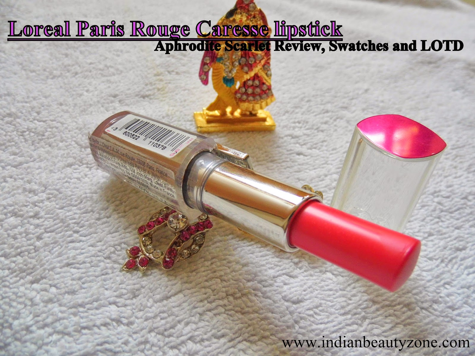 Loreal Paris Rouge Caresse lipstick Aphrodite Scarlet Swatches