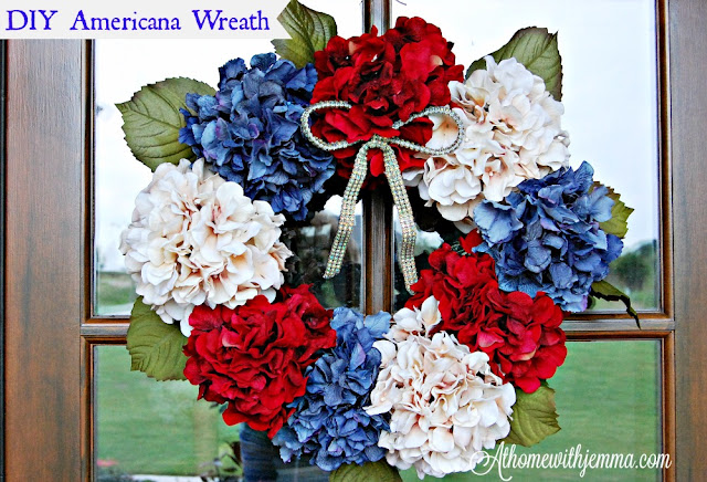craft, hydrangeas, decorating, wreath, Independence Day