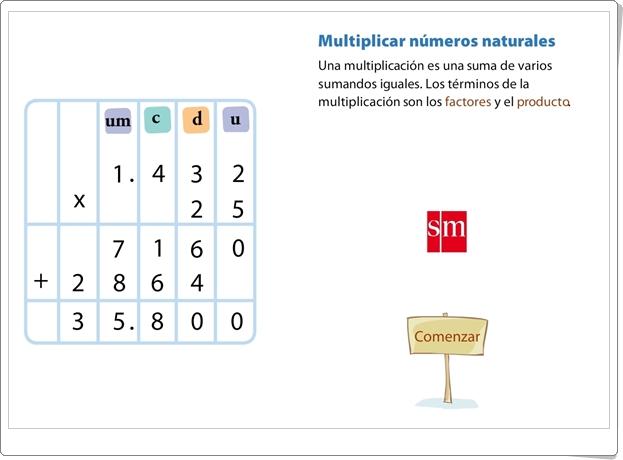 """""""Multiplicar números naturales"""" (Presentación animada del algoritmo de la multiplicación)"""