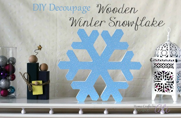 step by step tutorial diy decoupage wooden winter snowflake