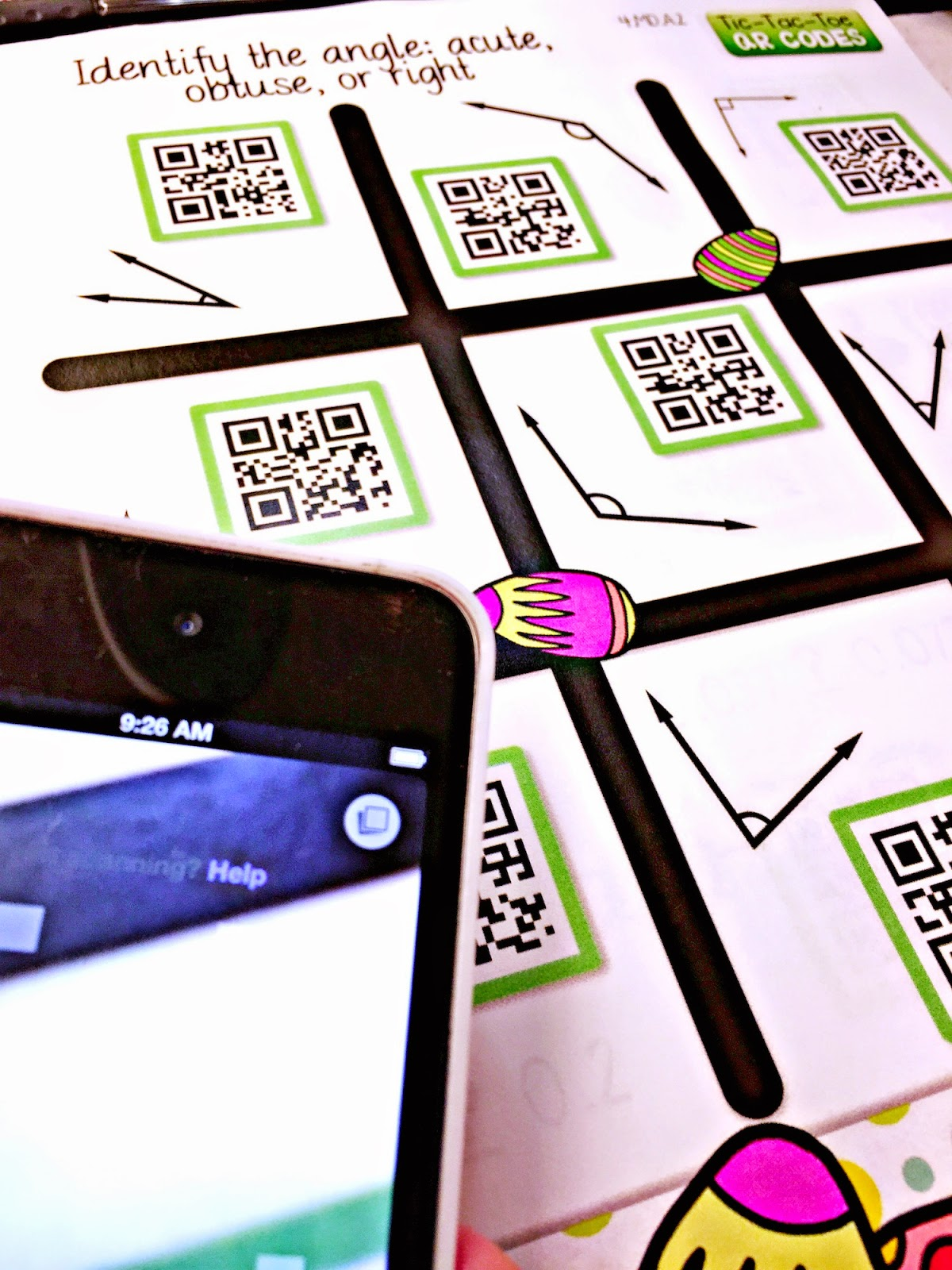Flapjack Educational Resources Identifying Angles Qr Code Math Game Freebie