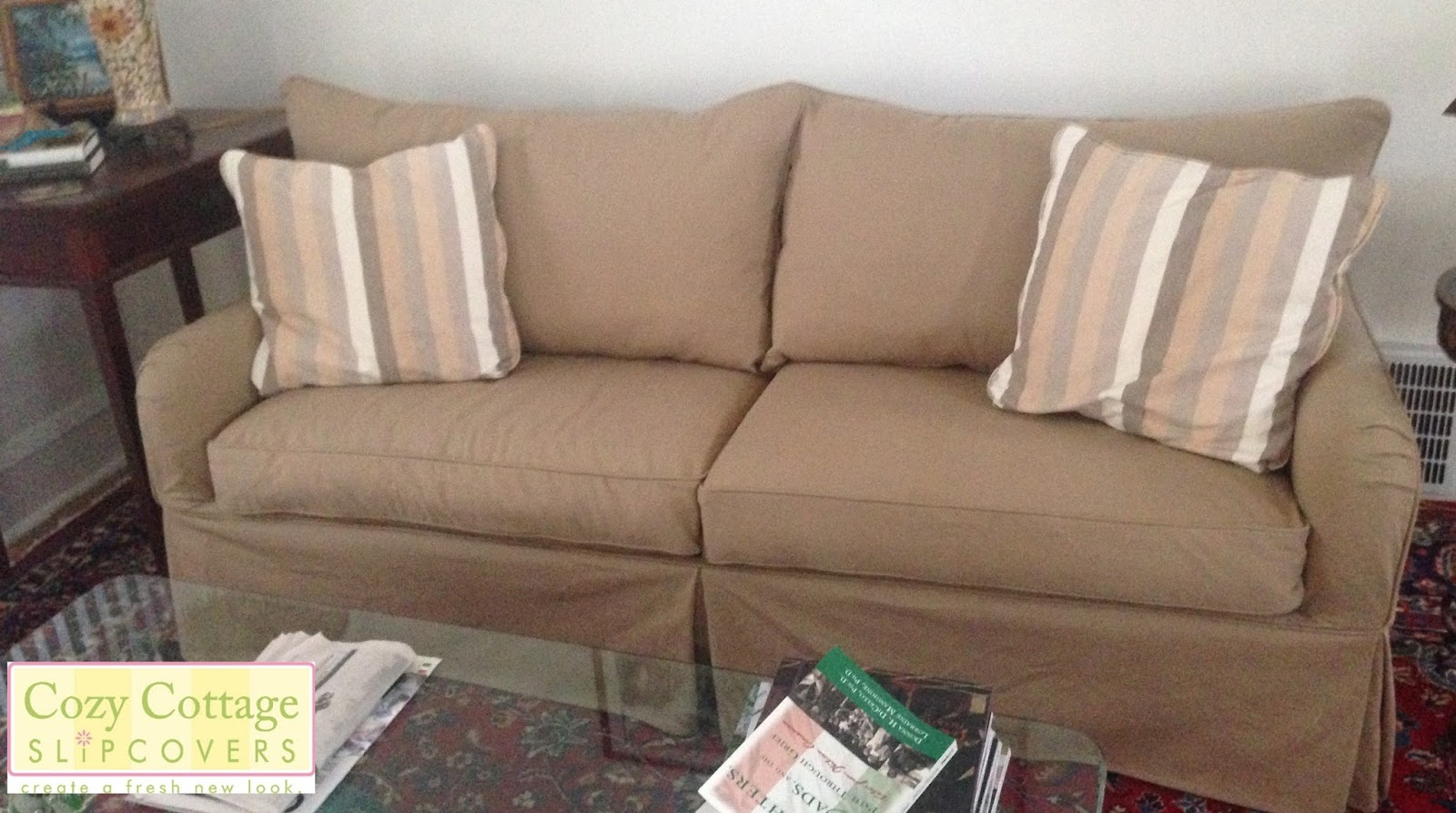 She Chose A Great Solid Cotton Fabric For Her New Slipcovers. The Sofa Will  Be Able To Convert To A Bed Without Removing The Slipcover.