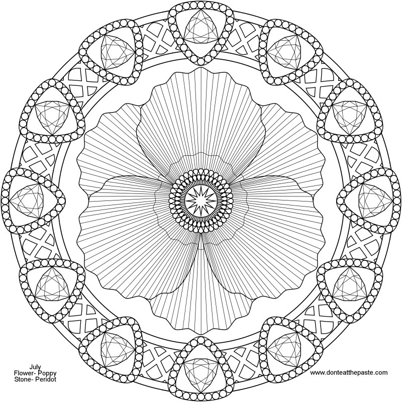 Don T Eat The Paste August Birthstone And Flower Mandala