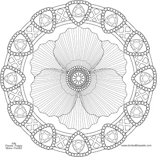 August mandala- poppy and peridot to print and color - jpg version
