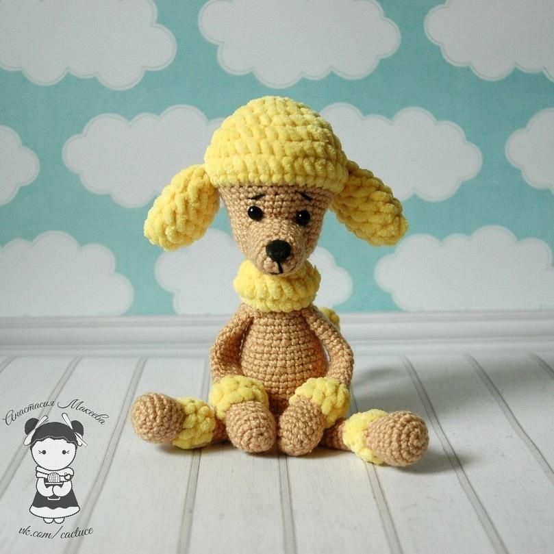 Пудель амигуруми собака крючком