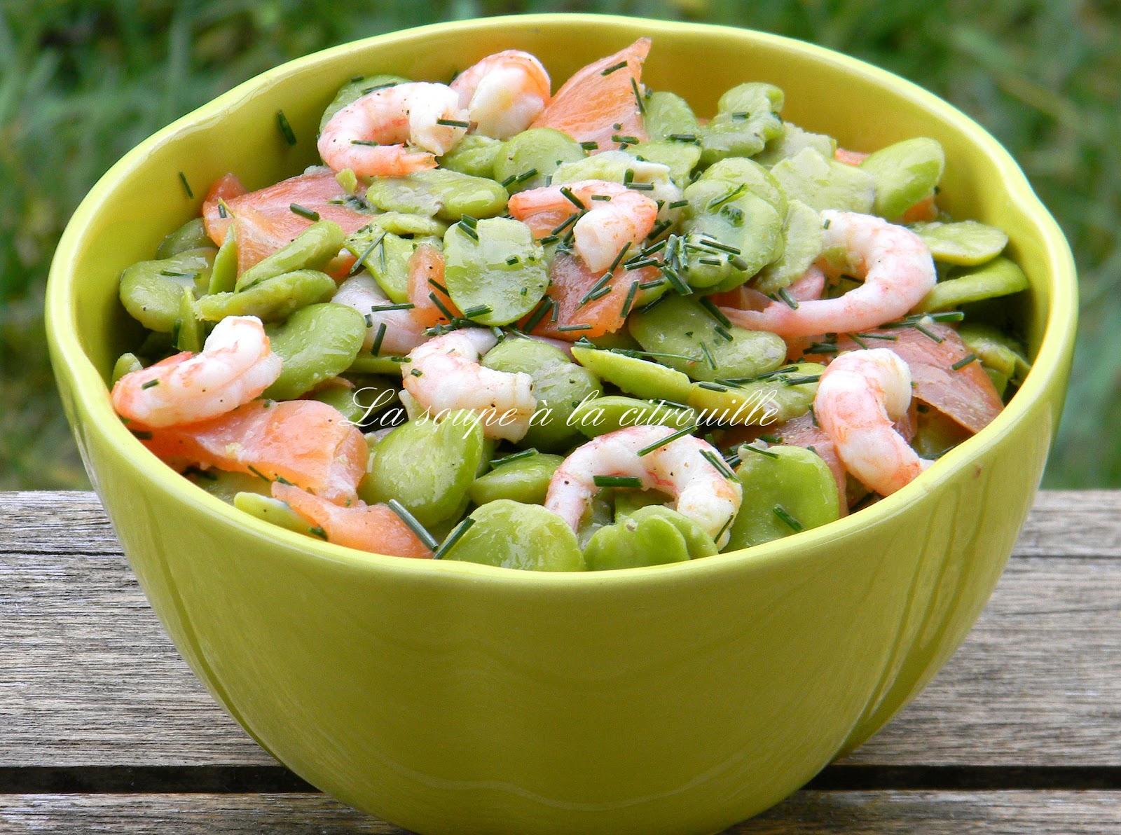 la soupe la citrouille salade de f ves au saumon fum et aux crevettes. Black Bedroom Furniture Sets. Home Design Ideas