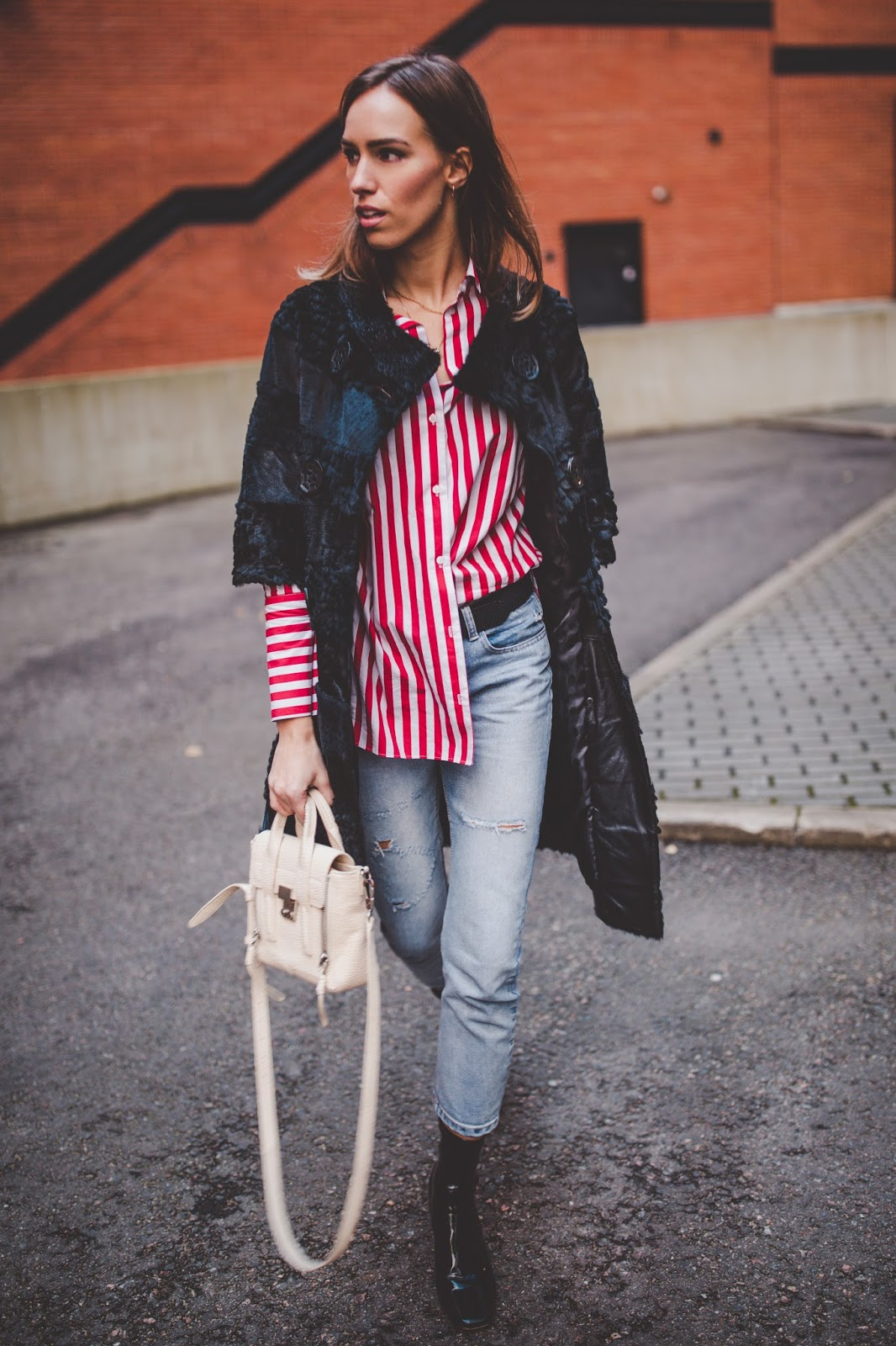 stripe shirt jeans fur coat outfit fall