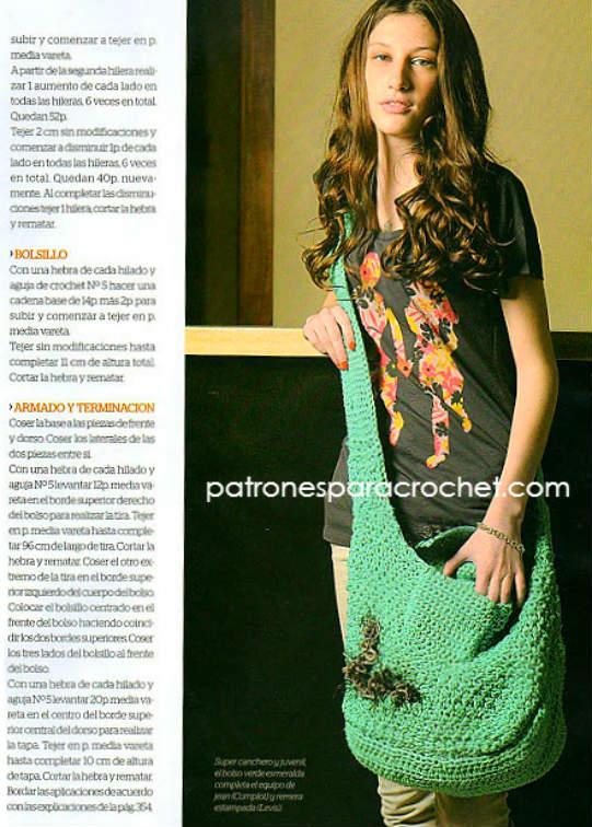 patrones en español de bolso crochet