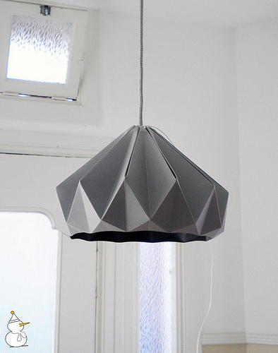 grey folded paper pendant lamp