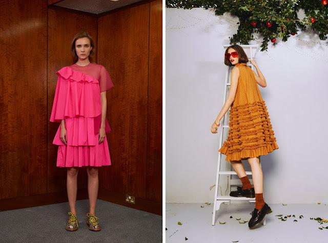 Розовое и желтое платье с пышными воланами