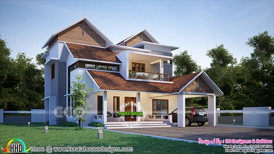 Day light view of Modern sloping roof home