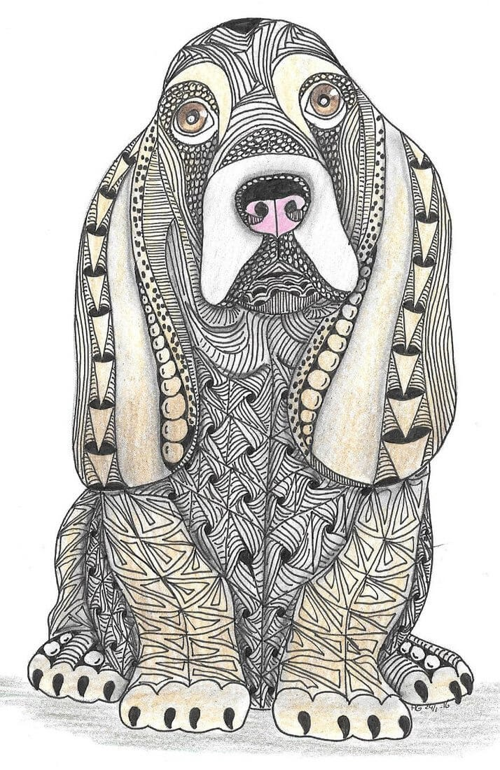 13-Basset-Hound-Adri-van-Garderen-Animals-Given-the-Zentangle-Treatment-www-designstack-co