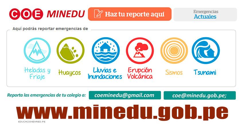 Centro de Operaciones de Emergencia (COE) MINEDU - www.minedu.gob.pe